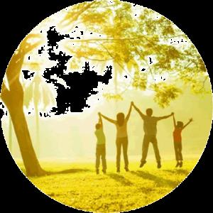Family under tree, sunlight