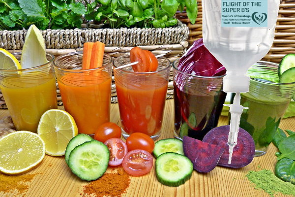 Flight of the Super B's - fruit and vegetable juices in glasses